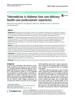 Hvl Open Telemedicine In Diabetes Foot Care Delivery Health
